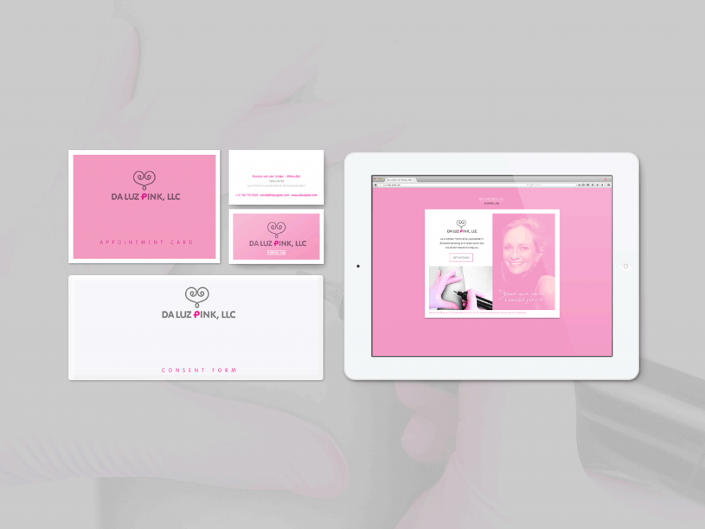 Business card, appointment card, consent form and temporary webpage for Da Luz Pink